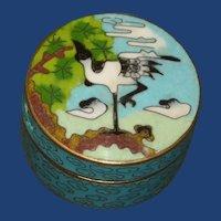 Cloisonne Round Asian Crane Heron Bird Box