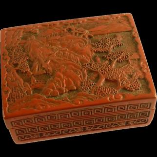 Cinnabar Asian Red Box with Village Scene Motif