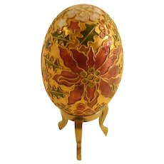Cloisonné Christmas Egg and Brass Stand