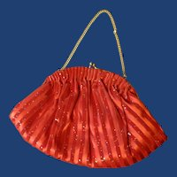 Small Red Party Purse with Gold Tone Small Handle