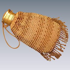 Wrist Purse with expandable Gate top Beaded Purse