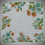 Peach and Aqua Blue Daisy Flower Linen Handkerchief Hanky