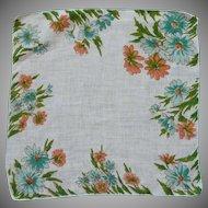 Peach and Aqua Blue Daisy Flower Linen Handkerchief Hanky