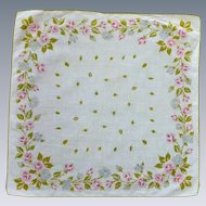 Pretty Pink and Grey  Roses on Linen Handkerchief Hanky