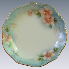 Hand Painted Blue and Pink Cherry Blossom Butter Pat Dish