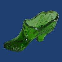 Green Mosser  Small Glass Slipper Shoe