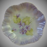 Hand Painted Violet Flower Butter Pat Dish