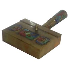 Chinese Brass Silent Butler Ashtray with Handle