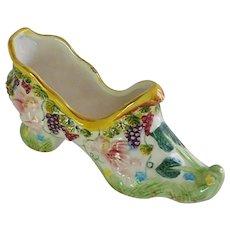 Hand Painted Majolica Like Ceramic Shoe Slipper