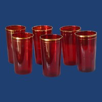 Ruby Red Juice Glass Gold Tone Trim