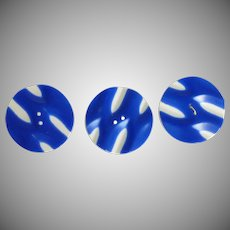 Three Large Bright Blue and White Plastic MOD Buttons