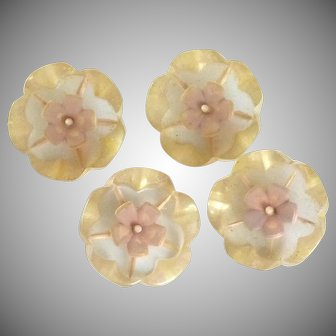 Four Transparent Pink Flower  Bakelite Shank Buttons