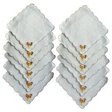Set of 12 Mid-Century Rooster Cloth Cocktail Napkins