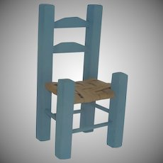 Blue Miniature Doll Chair with Rush Style Seat