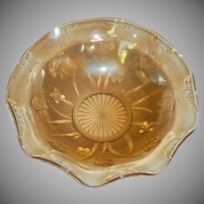 Glass Jeannette Iris Ruffled Bowl in Yellow Marigold