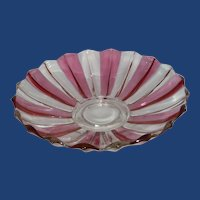 Red Flash and Clear Glass Serving Bowl