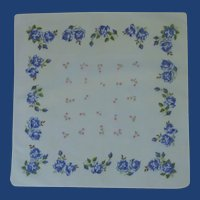 Blue Roses and Pink Daisies on White Handkerchief