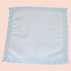 White Handkerchief with Blue Lace as Border Edge