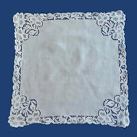 White Cotton Linen Lace Edge Handkerchief Hanky