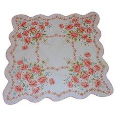 Orange and Blue Flowers on Large White Handkerchief