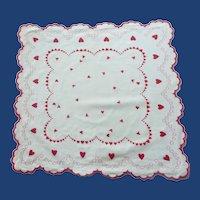 Valentine Hearts Scalloped White Handkerchief Hanky