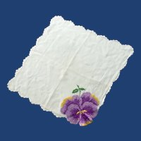 Large Embroidered Pansy on White Handkerchief Hanky