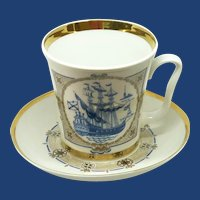 USSR  Russia Sailing Ship Motif Coffee Cup and Saucer