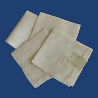 Four Madeira Hand Embroidery Small Pink Napkins