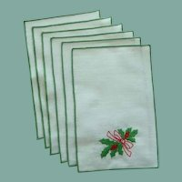 Six Green Trim Christmas Cocktail Napkins by Matouk