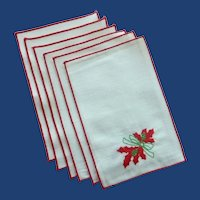 Six Red Trim Christmas Cocktail Napkins by Matouk