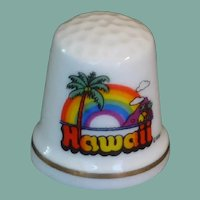Hawaii Ceramic White Souvenir Thimble