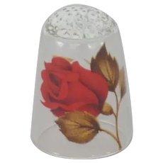 Rose Bud Motif on Glass Thimble