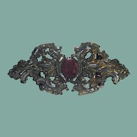 1890's Repoussé Embossed Ornate Brass Buckle