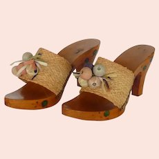 LuJan Italy 1950's Wood Sandals with a Heel