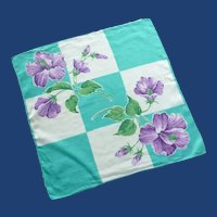 Purple Flower with Aqua and White Handkerchief