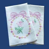 Pair of White hand Towels with Embroidered Flowers