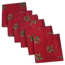 Six Red Christmas Cocktail Napkins with Holly