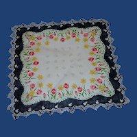 Black Border White Tulip and Daffodil Handkerchief