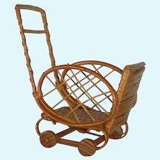 Four Wheel Doll Rickshaw Wood and Wicker