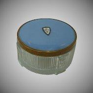 Guilloche Enamel Vanity Dresser Glass Powder Jar