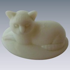 Westmoreland Milk Glass Cat on Basket Lid