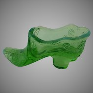 Opalescent Green Glass Slipper Shoe