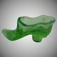 Opalescent Green Glass Slipper Shoe