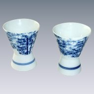 Two Blue Porcelain Alliage Fragrance Candle Holder