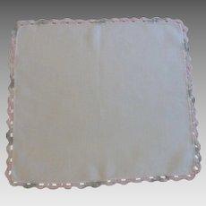 Grey Pink Crocheted Border on White Linen Handkerchief