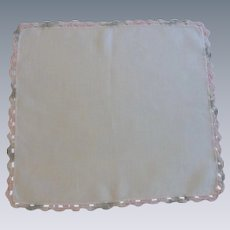 Grey Pink Crocheted Border on White Linen Handkerchief