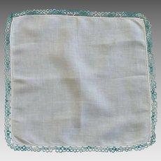 Aqua Teal Tatted Border on White Linen Handkerchief