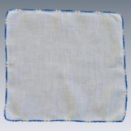 Blue Orange Small Tatted Border on White Linen Handkerchief