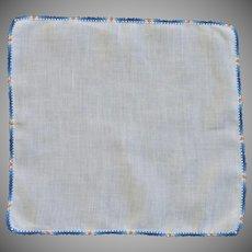 Blue Orange Small Tatted Border on White Linen Handkerchief
