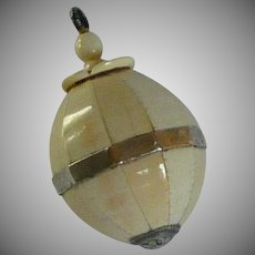Small Celluloid Flacon  Perfume with Screw Top Pendant